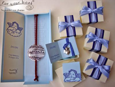 bomboniera battesimo segnalibro personalizzata angeli blu