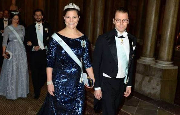 Crown Princess Victoria and Prince Daniel, Prince Carl Philip and Princess Sofia, Princess Madeleine and Christopher O'Neill attend the Royal dinner