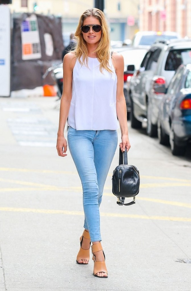 celebrity fashion, doutzen kroes, skinny jeans