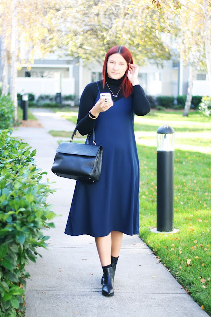 uniqlo navy slip dress, bargain fashion, sale