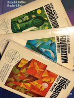 Asimov's Foundation Trilogy, superimposed on Intermediate Physcs for Medicine and Biology.