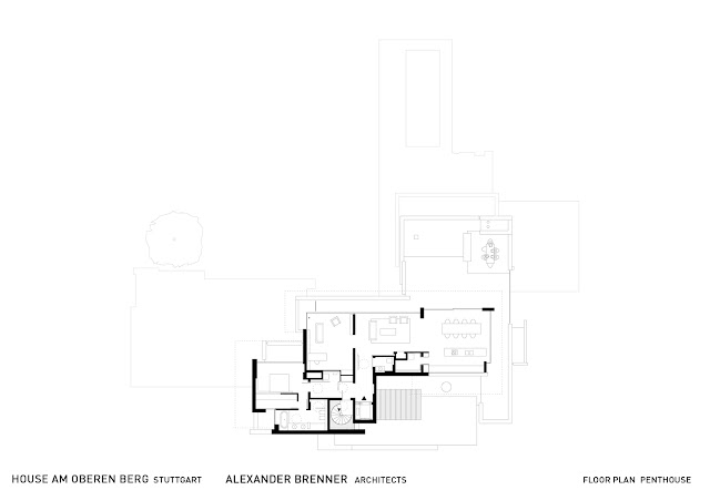 Floor plan of a penthouse floor in an amazing home in Germany