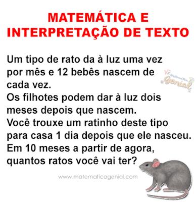 Matemática e interpretação de texto: Um tipo de rato da à luz...