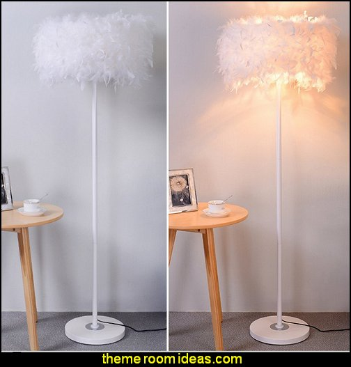 feather crystal lampshade floor lamp  mythology theme bedrooms - greek theme room - roman theme rooms - angelic heavenly realm theme decorating ideas - Greek Mythology Decorations - heavenly wall murals - angel wings decor - angel theme bedrooms