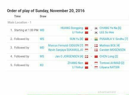 Jadwal Final China Open