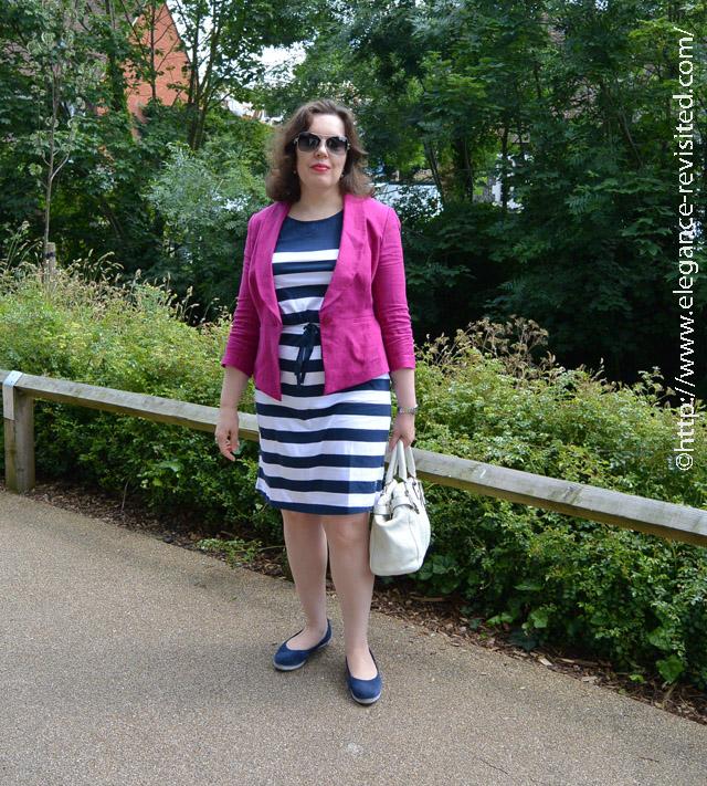 linen jacket stripy dress