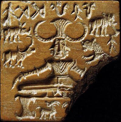 The Pashupati Seal from Mohenjo-Daro c.2300 BCE, depicting the Hindu deity Shiva seated in a yogic posture called Mulabandhasana.