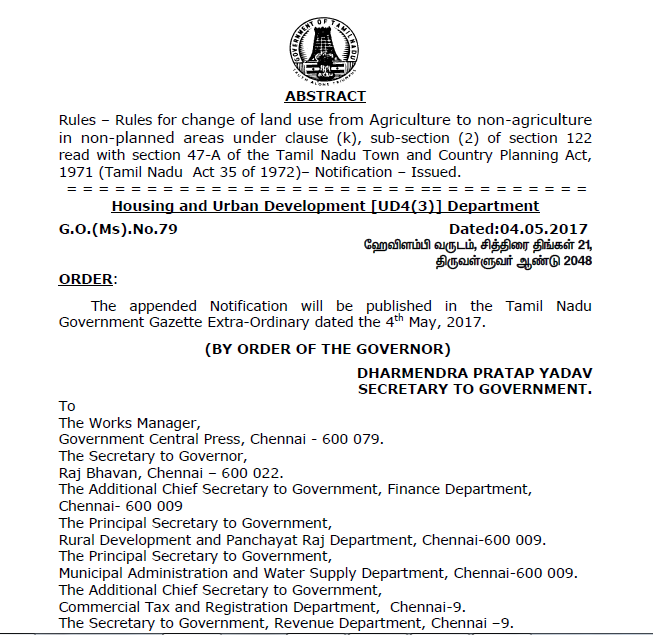 Tamil Nadu Change of Land Use (From Agriculture to Non-Agriculture