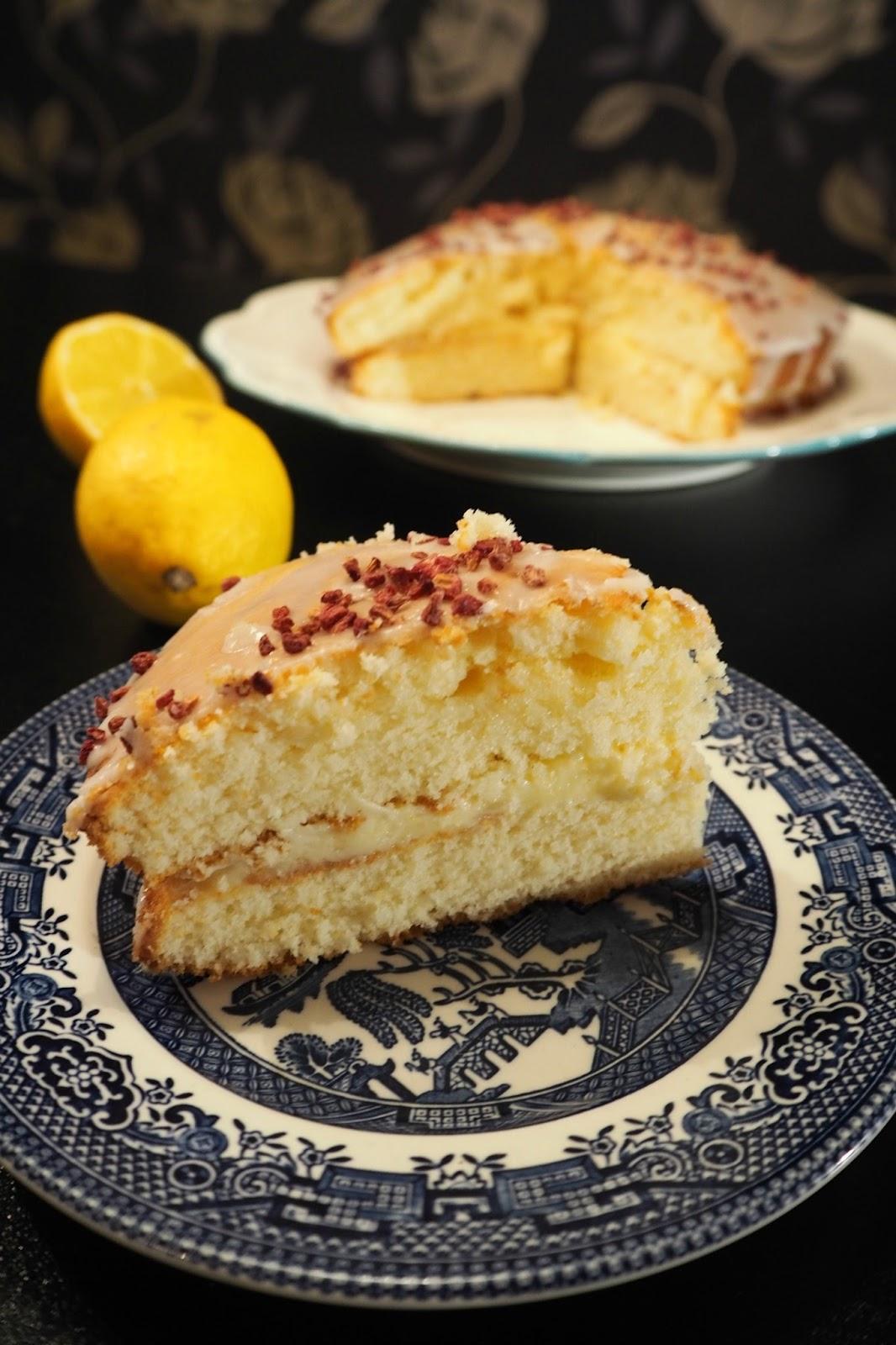 Homemade lemon drizzle cake