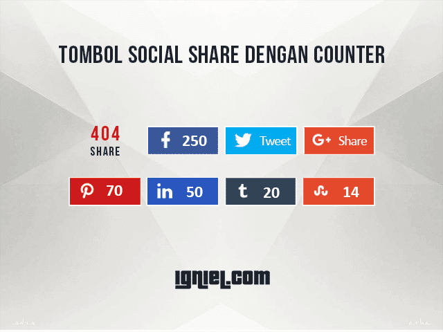 Tombol Share Media Sosial Dengan Counter