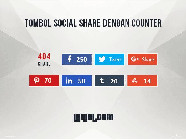 Tombol Share Media Sosial Dengan Counter