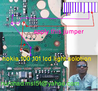 hello Friends Now i will share with your how to fix nokia 101 display light problem. if your call phone light is water damage problem after clean your device show display light is not working properly you need to check your device led use avo miter. if your led is okay than you need to follow this diagram below this post check this rad mark line and pink mark line. if you find any line is broken. make jumper use copier coil. i hope you done it successfully.