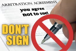 Don't sign arbitration agreements