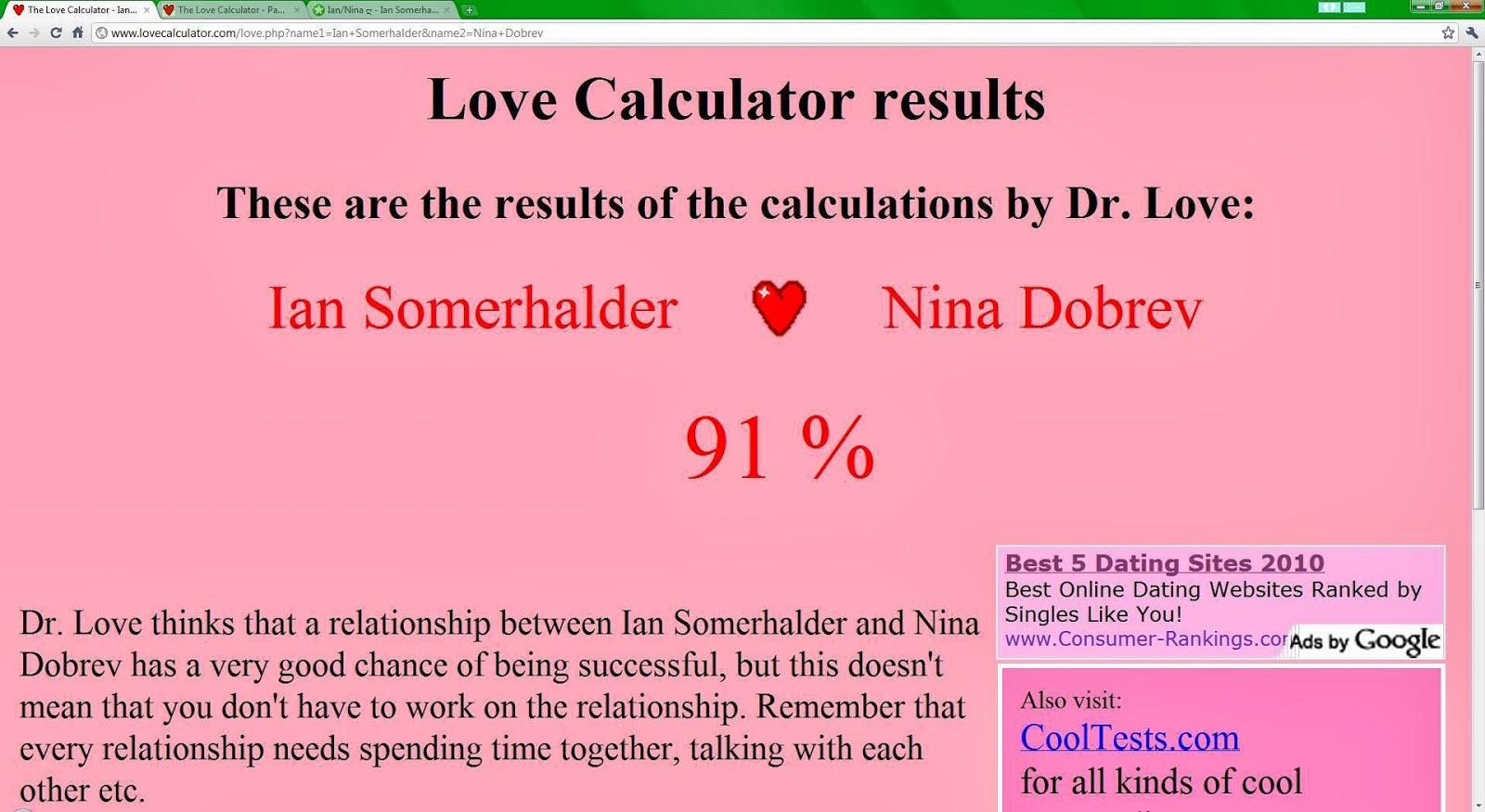 Lovecalculator. Com website. The love calculator.