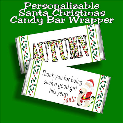 Let Santa say Thank You for being a good girl or good boy this year to your children with this personalizable Christmas candy bar wrapper. This wrapper is a great Christmas card for Santa to leave in your kids' stockings.