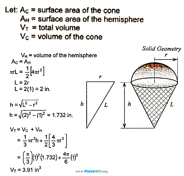 Solution: Find the total volume of ice cream if the radius