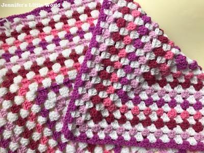 Pink granny square crochet blanket