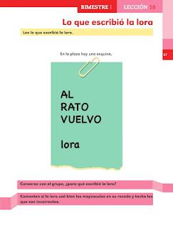 Apoyo Primaria Español 1er grado lección 16 Lo que escribió la lora