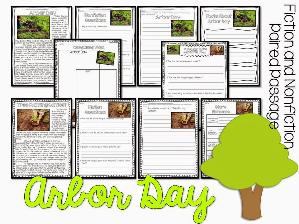 April Fiction and Nonfiction Paired Texts- all about Arbor Day