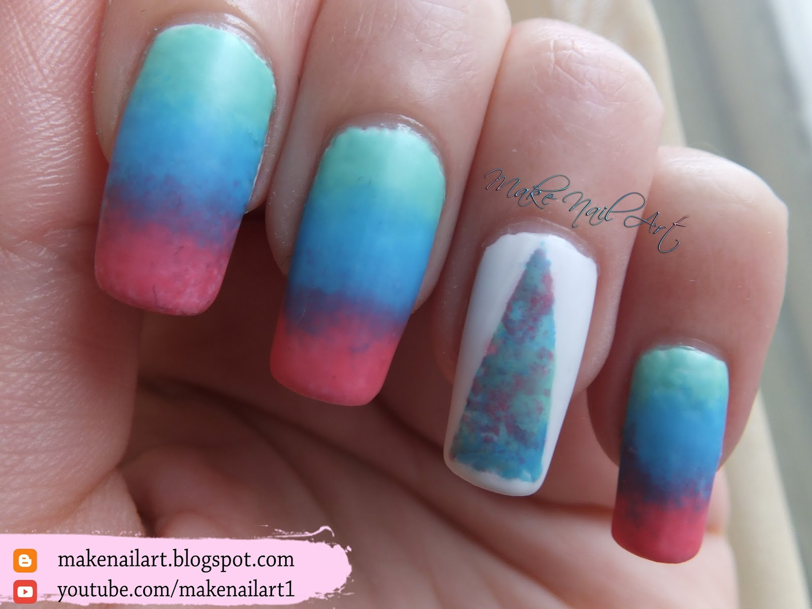 Make Nail Art: Abstract Triangle Ombre Nail Art Design ...