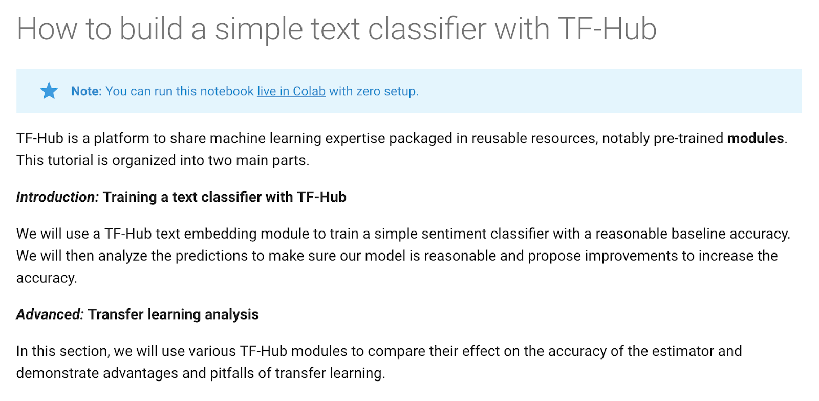 text classification tutorial using TF Hub