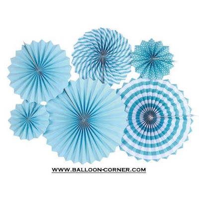 Paper Fan Set 6 Pcs Warna Biru