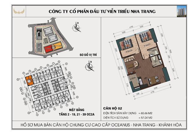 Sơ đồ căn hộ số 02 tòa OC2A Viễn Triều Nha Trang