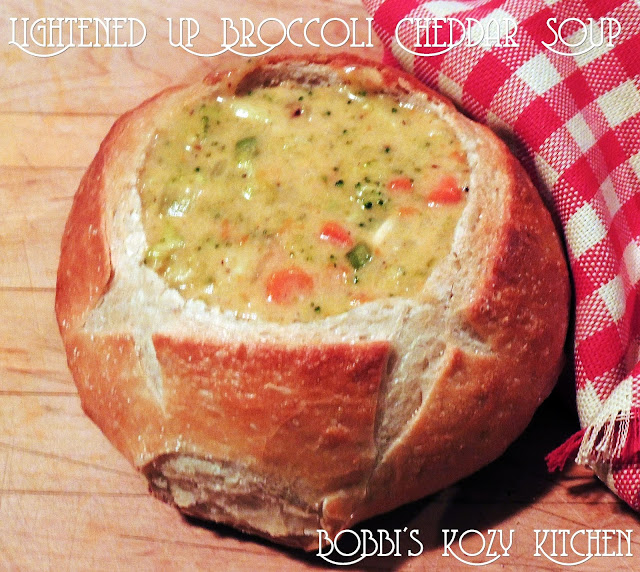 This Lightened Up Panera-Inspired Broccoli Cheddar Soup recipe gives you all of those great flavors you expect from your favorite Panera soup with less guilt, money, and no lines! #copycat #panera #Broccoli #cheese #soup #easy #recipe | bobbiskozykitchen.com