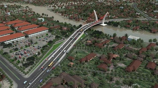 Maket Jembatan sistem penyangga tunggal yang akan dibangun menghubungkan Kota Banjarmasin dan Barito Kuala di Kayutangi Ujung, Banjarmasin, Kalsel.