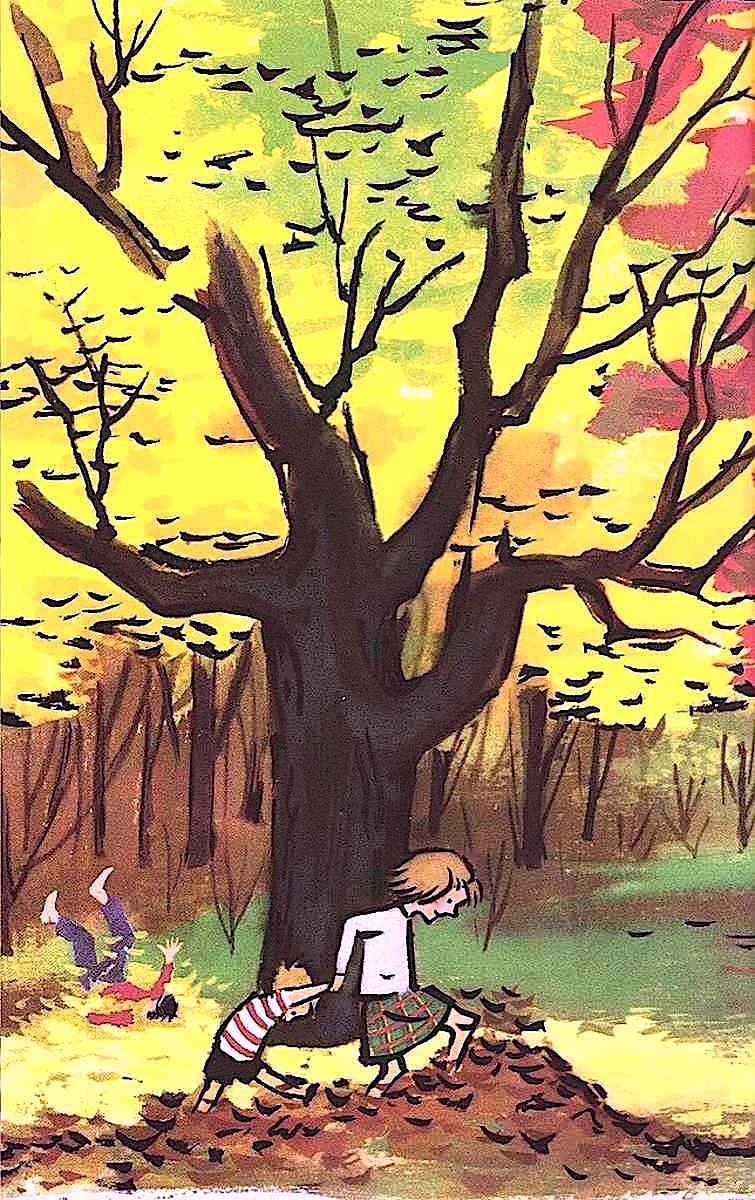 a Marc Simont children's book illustration of kids playing in autumn leaves