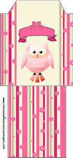 Pink Owl With Flowers and Stripes: Free Party Printables for Quinceanera Party.
