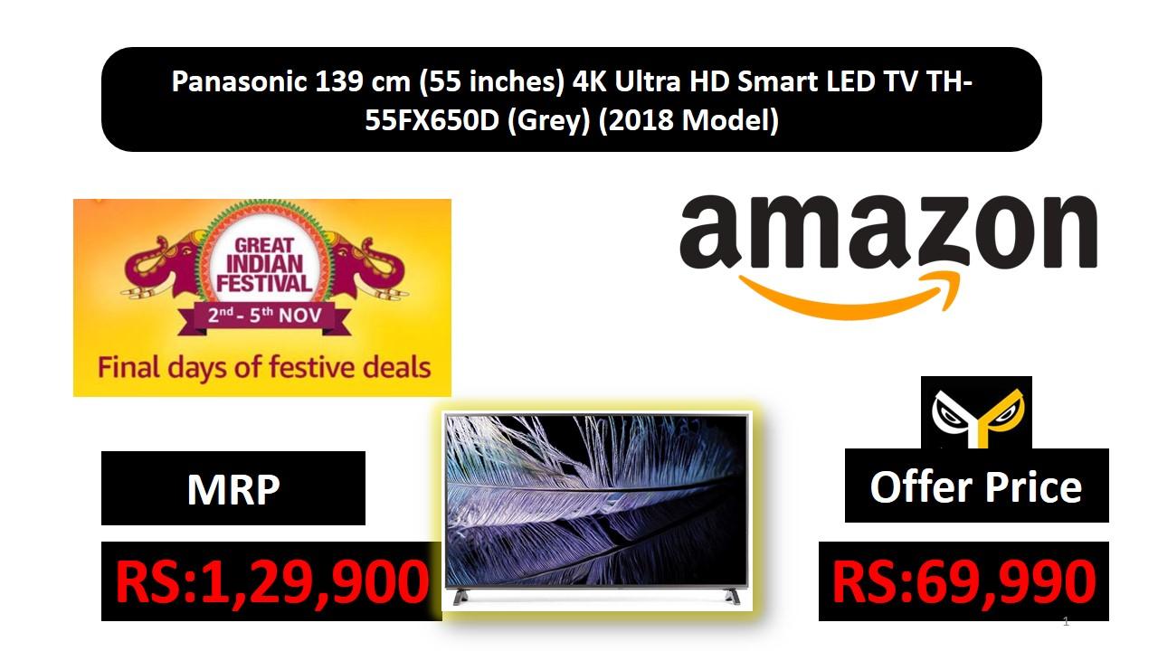 Panasonic 139 Cm 55 Inches 4K Ultra HD Smart LED TV TH 55FX650D Grey 2018 Model