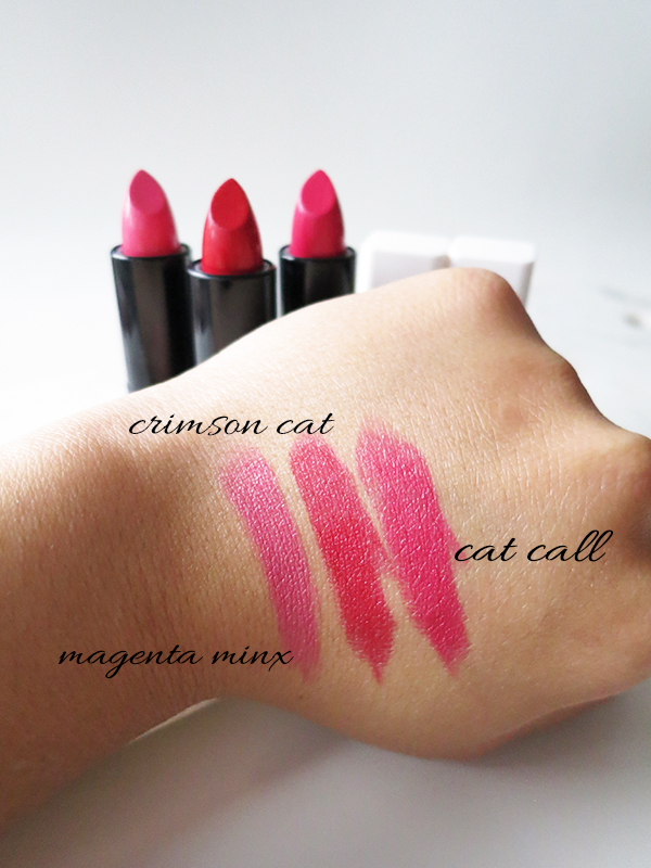 Cover Girl x Katy Kat Matte lipstick Katy Perry collaboration red bright pink shades Magenta Mink, Crimson Cat, Cat Call swatches