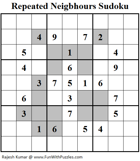 Repeated Neigbhours Sudoku (Fun With Sudoku #129)