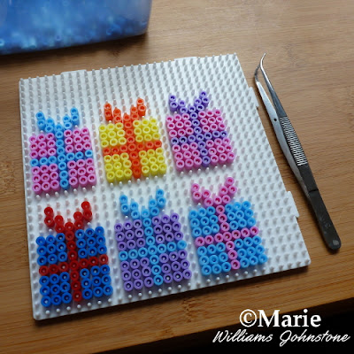 large square peg board with gift designs hama perler fused beads