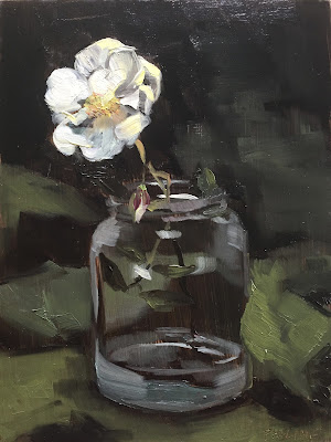 """November rose"", floral stil life painting by Philine van der Vegte"