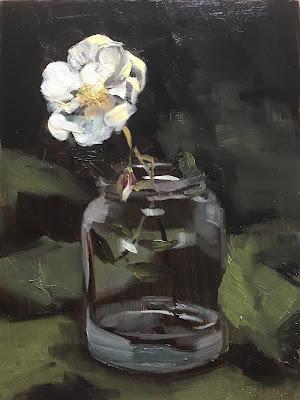 """""""November rose"""", floral stil life painting by Philine van der Vegte"""