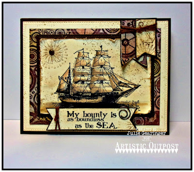 Artistic Outpost Stamp Set: The Captain, Vagabond Treasures Paper Collection, Dies: Steampunk Gears, Pierced Rectangles, Pennant Flags, Rectangles