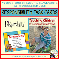 Responsibility Character Education - Social Skills Task Cards