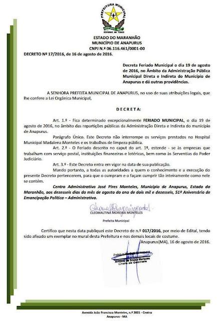 PREFEITURA DE ANAPURUS DECRETA FERIADO MUNICIPAL DIA 19 DE AGOSTO