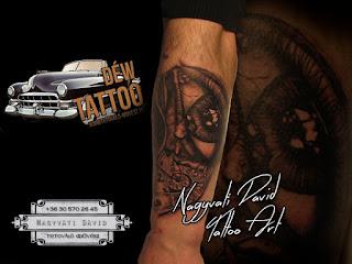 Szem tetoválás, óra tetoválás Nagyváti Dávid Szegedi tetováló művész készítette