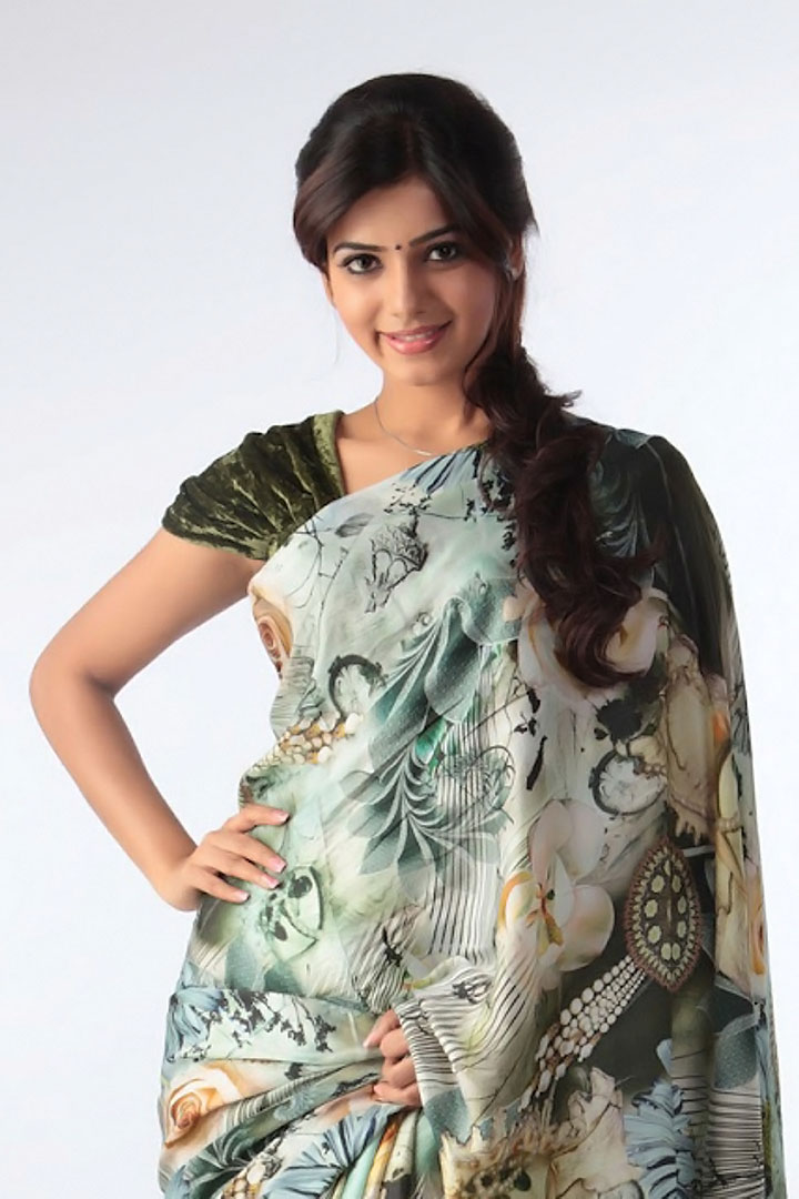 Samantha Ruth Prabhu Hip Navel Photos In Blue Saree Hot