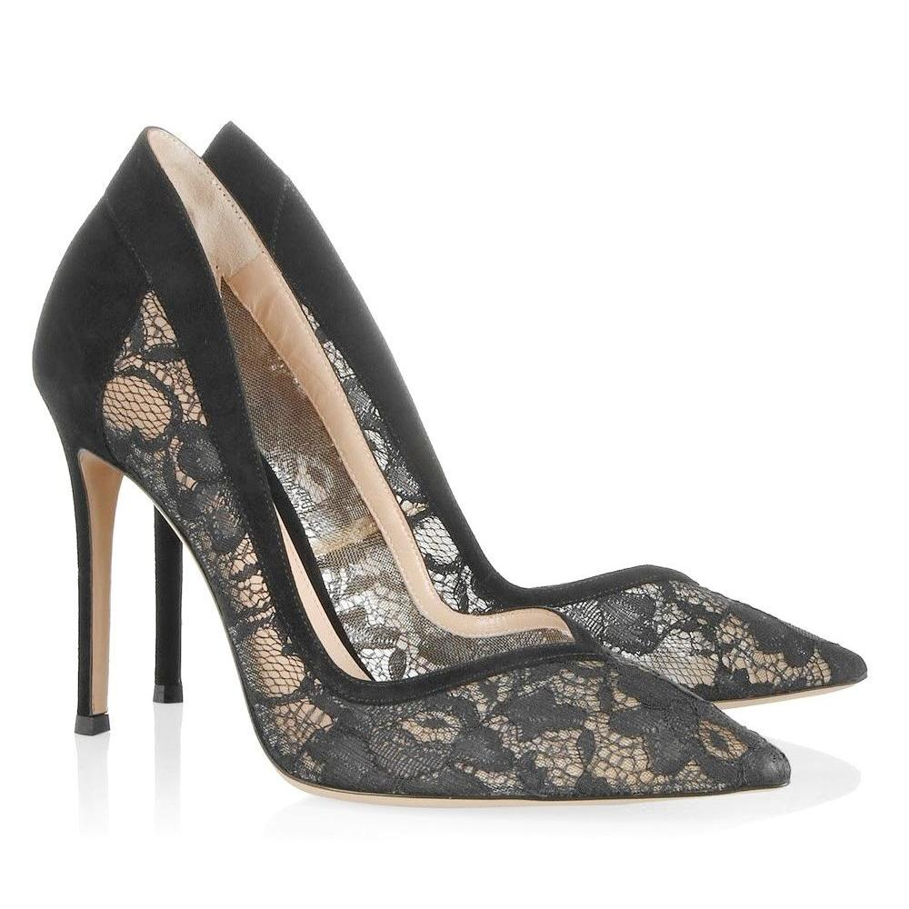 Crown Princess Mary  - GIANVITO ROSSI Lace -Suede Pumps