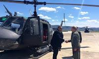 Με ελικόπτερο Χιούι πέταξε πάνω από τον τόπο του δυστυχήματος ο Καμμένος
