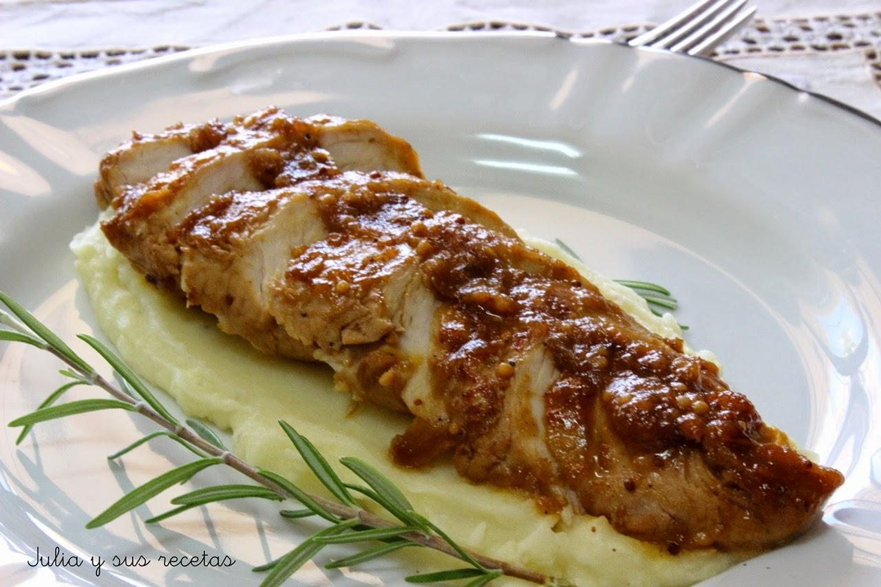 Solomillo de pavo en salsa de mostaza. Julia y sus recetas