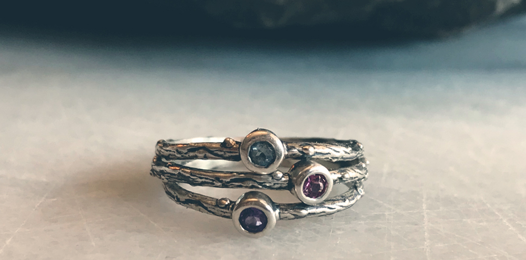 3 stack rings with gemstones