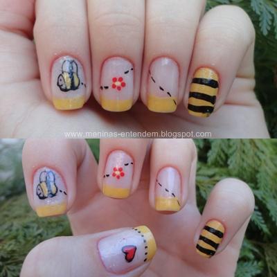 Unhas decoradas de abelha