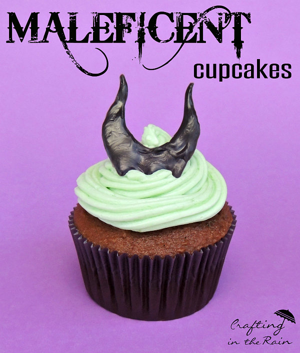 Easy Maleficent cupcakes
