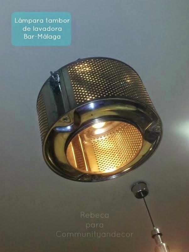 lampara con tambor de lavadora-negocio sostenible