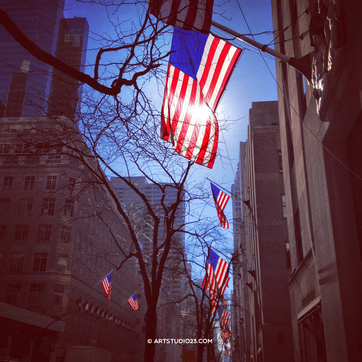 Winter sun lighting American flags at 5th Avenue, NYC - Melanie E. Rijkers